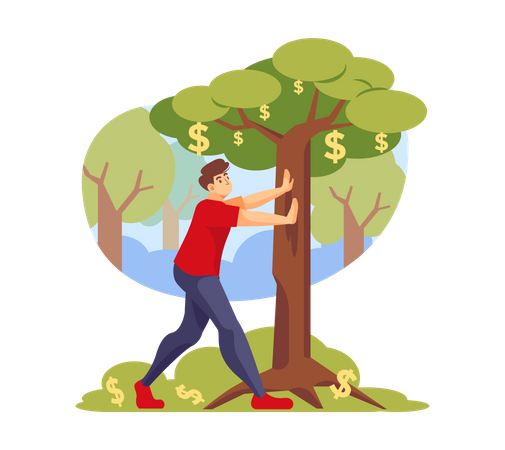 Investor getting profit from investment Illustration