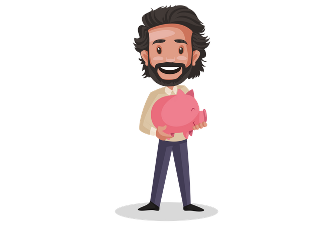 Investor holding piggy  bank in his hand Illustration