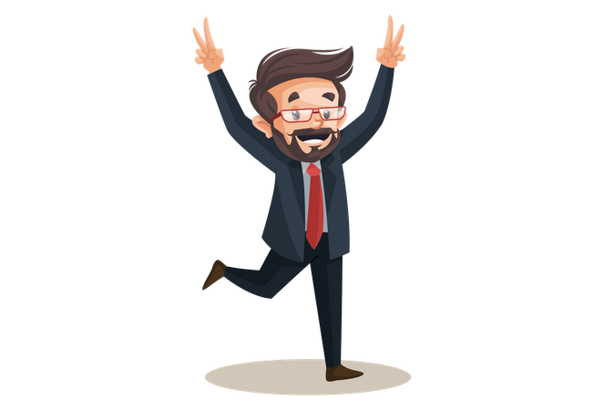 Investor is jumping and showing victory sign Illustration
