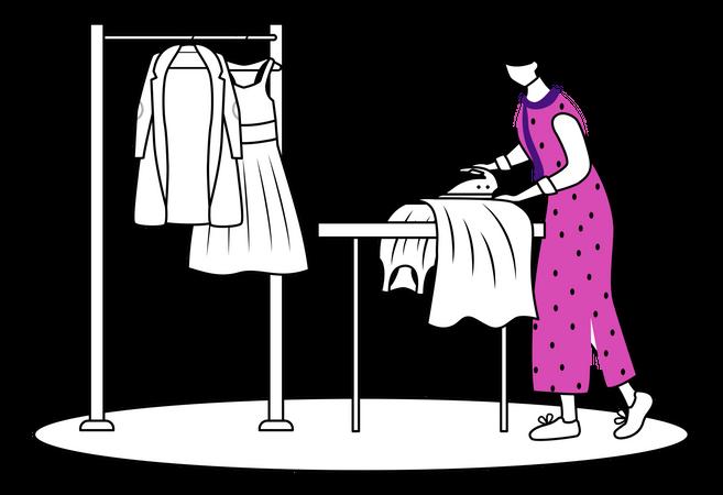 Ironing fashion clothes Illustration