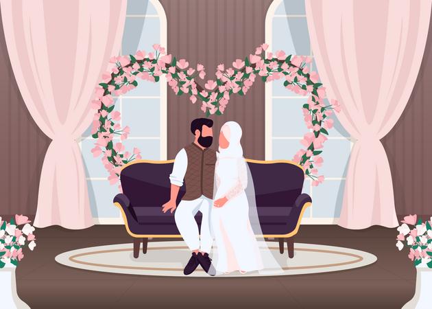 Islam newlyweds Illustration