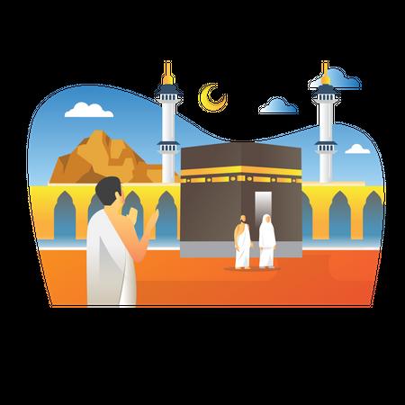 Islamic Pilgrimage Illustration