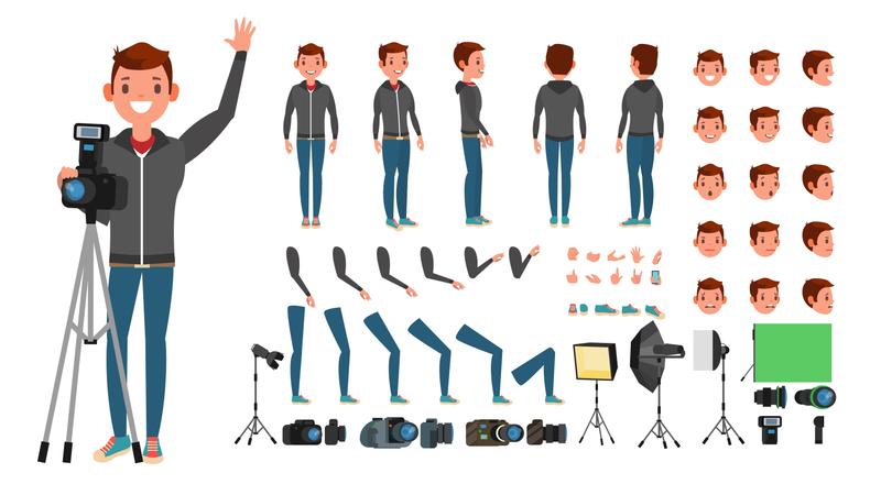 Isolated Flat Cartoon Illustration Of Photographer Illustration