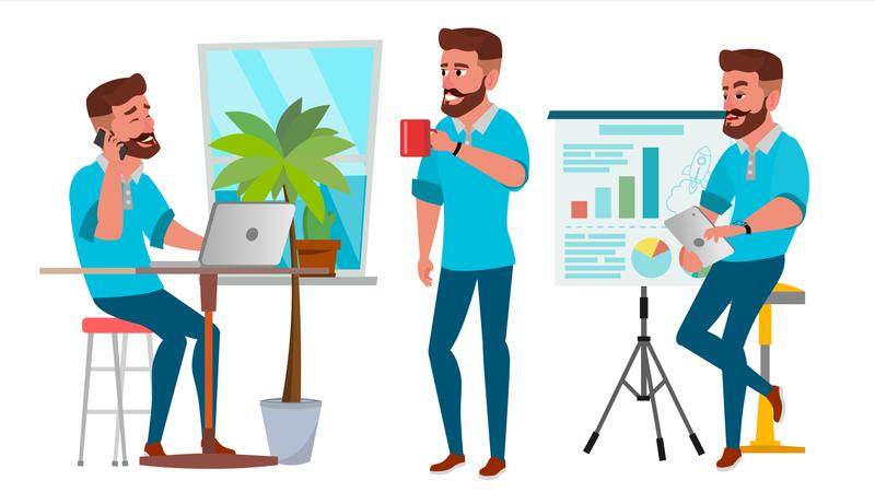 Isolated On White Cartoon Business Character Illustration Illustration