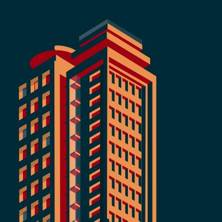 Isometric buildings Skyscraper, cityscape, cityscene Illustration