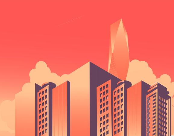 Isometric buildings Skyscraper, cityscape, cityscenee Illustration