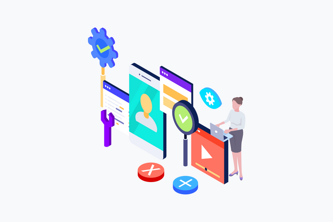Isometric concept a young woman creates a custom design for a mobile application Illustration