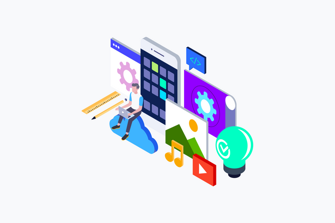Isometric concept of App Development and website development. Illustration