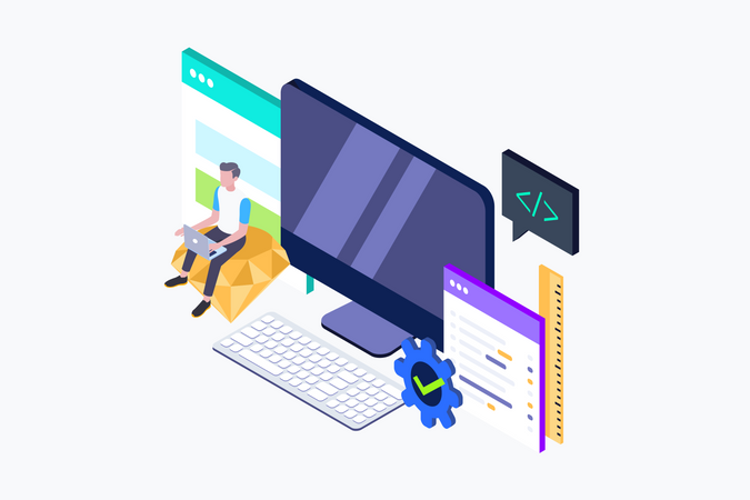 Isometric concept of Developing programming and coding technologies. Illustration