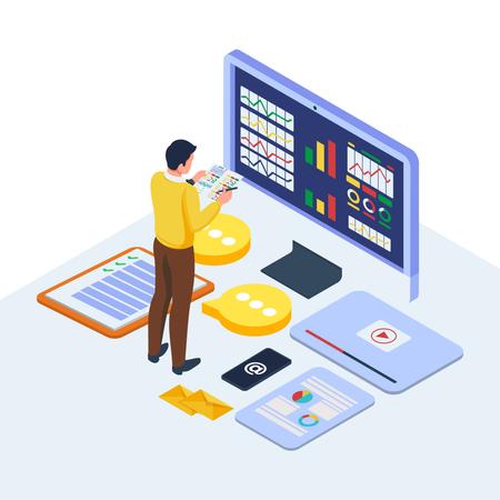 Isometric digital marketing management concept Illustration