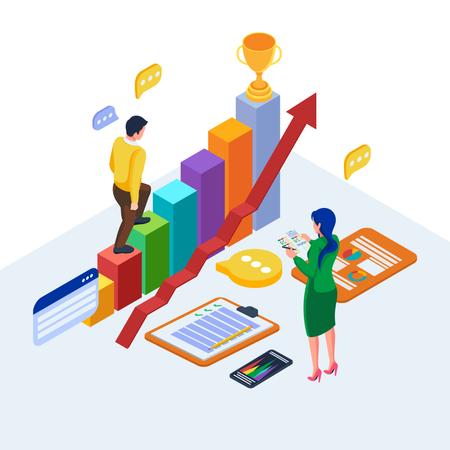 Isometric digital marketing strategy Illustration