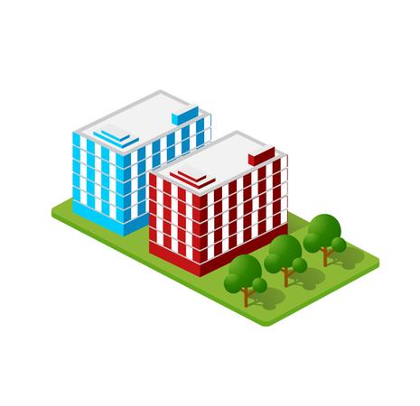 Isometric Houses Illustration