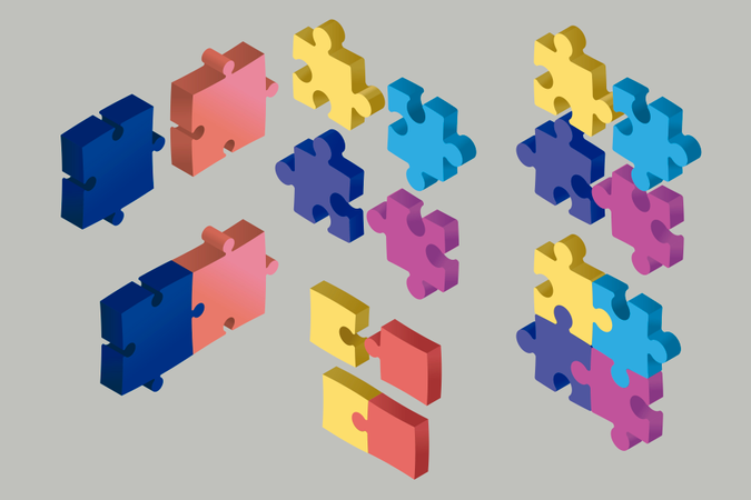 Isometric Puzzle Pieces floating in the air: Cooperation and solution concept Illustration