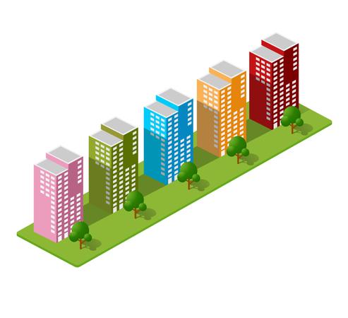 Isometric Town Houses Illustration