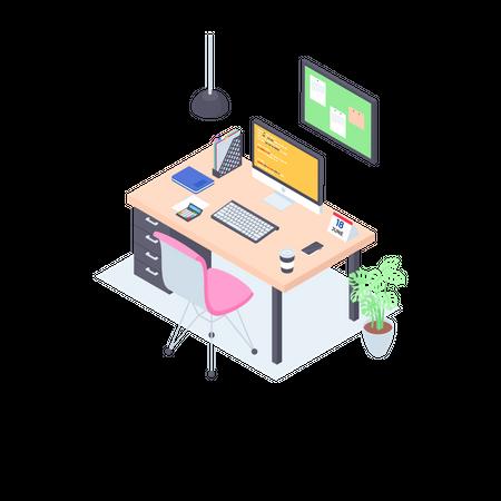 Isometric Workplace Illustration