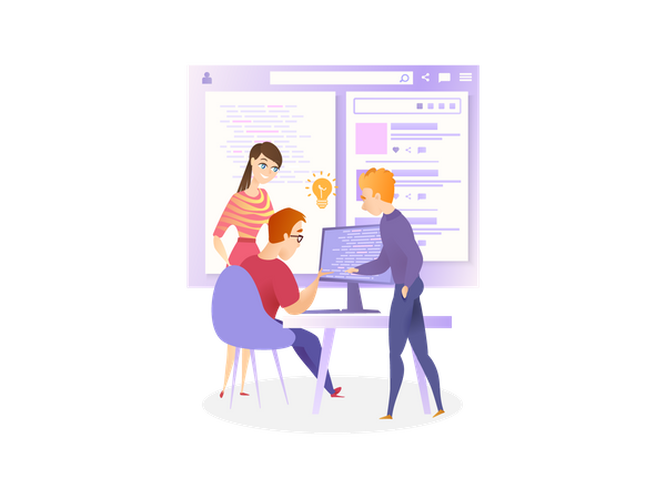 IT company Developers working on website development Illustration