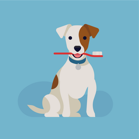 Jack russell Dog Holding toothbrush in mouth Illustration