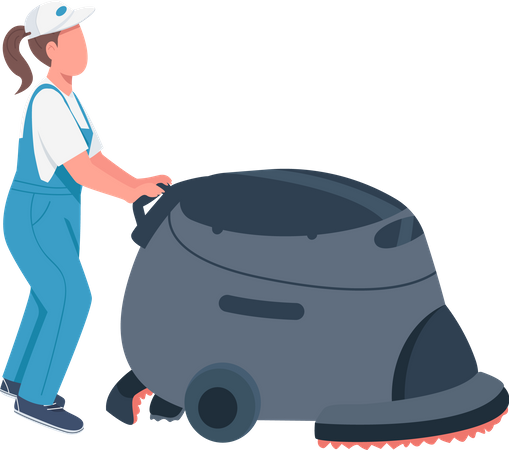 Janitor with cleaning machine Illustration