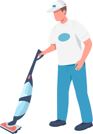 Janitor with vacuum sweeper Illustration
