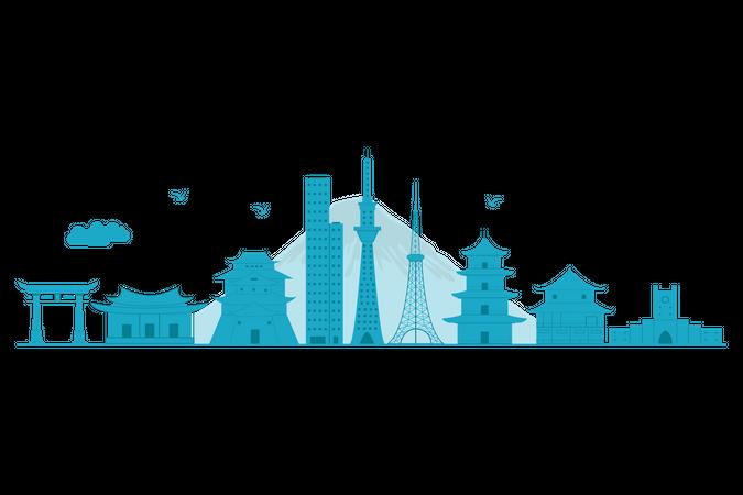 Japan Skyline in blue silhouette Illustration
