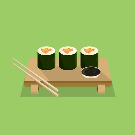 Japanese Food Sushi Roll Illustration
