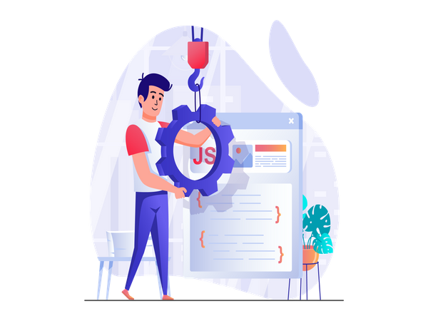 JavaScript backend development Illustration