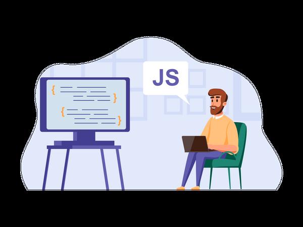 Javascript developer working using big screen Illustration