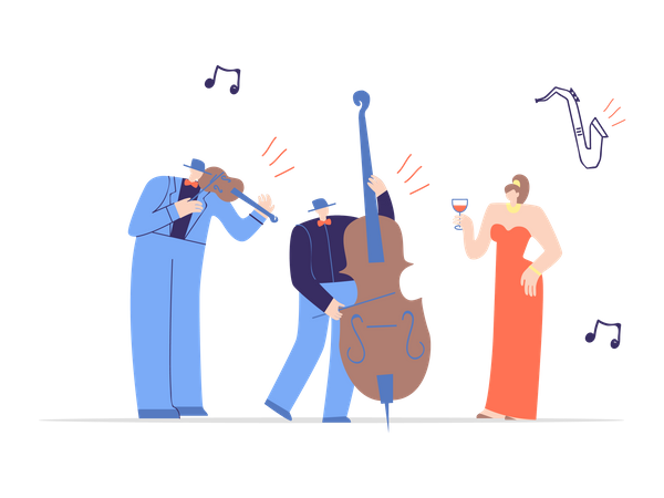 Jazz band performing in concert Illustration