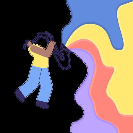 Jazz Man playing Saxophone Illustration