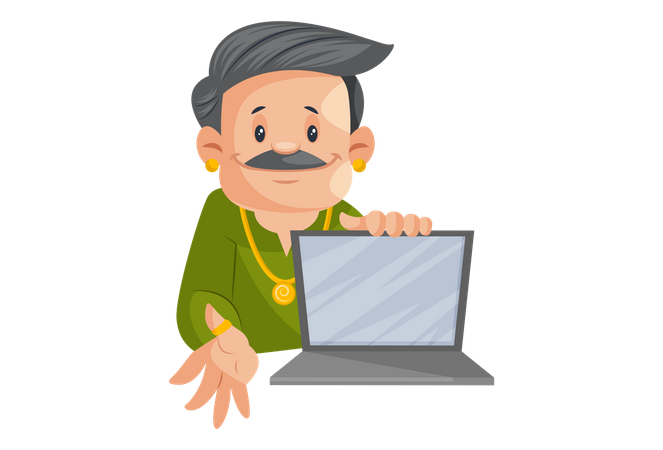 Jeweler Is Showing Jewelry In Laptop Illustration