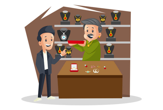 Jeweler ss selling Jewelry To Male Customer Illustration