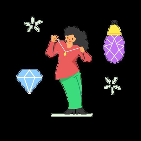 Jewelry shopping Illustration