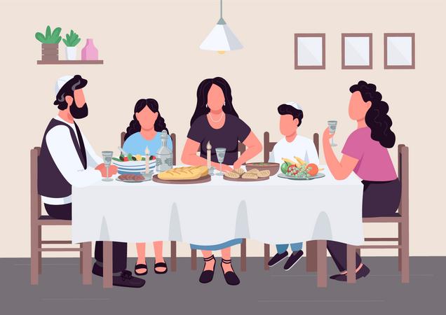 Jewish family meal Illustration