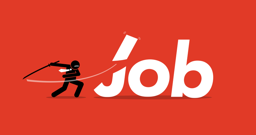 Job cut by businessman. Illustration