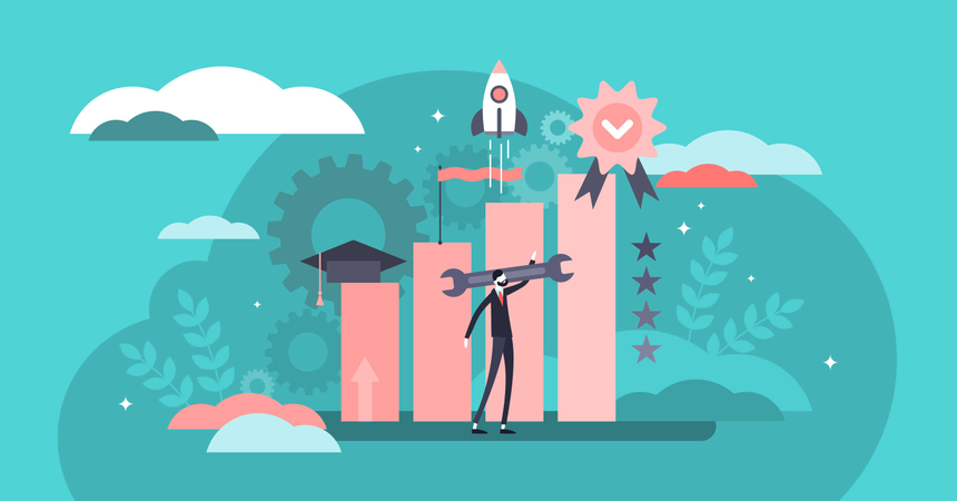 Job growth and development with professional education Illustration
