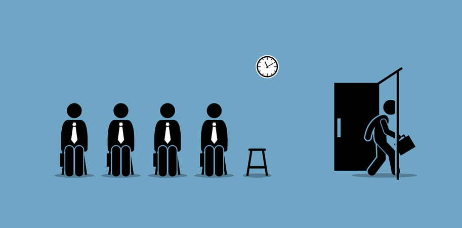 Job interview candidates waiting outside the room and a candidate walking through the door Illustration