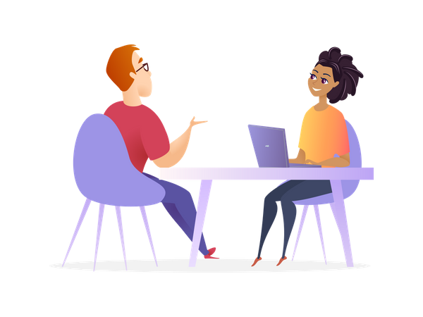 Job Interview Meeting with Hr Manager Illustration