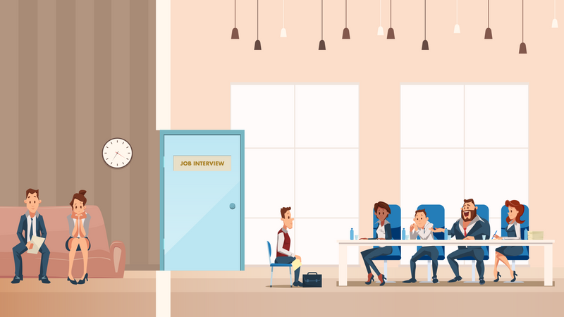 Job Interview Process in Office Illustration
