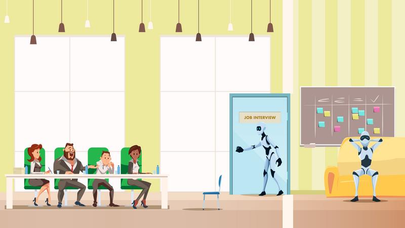 Job Interview Process of robots Illustration