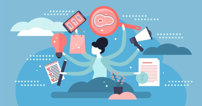 Job management overload lifestyle Illustration