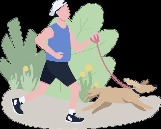 Jogger with dog Illustration