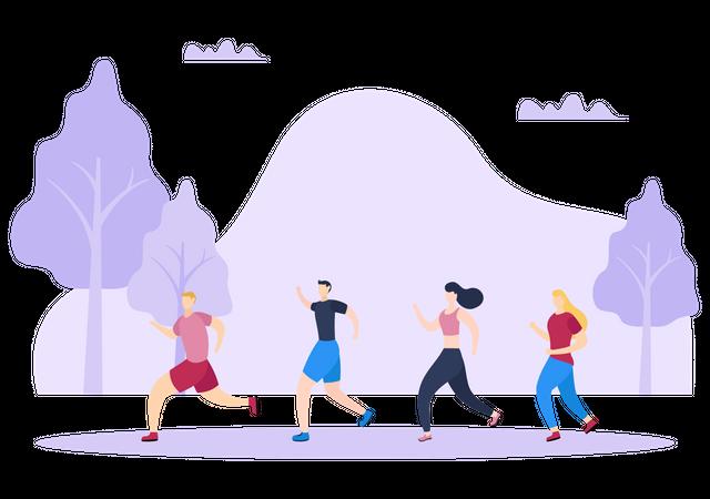 Joggers Running In Park Illustration