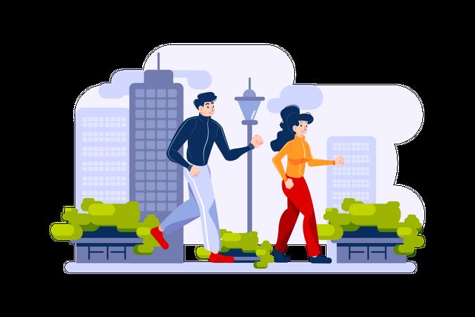 Jogging in the city park Illustration