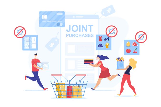 Joint Online Safety Purchase during Quarantine Illustration