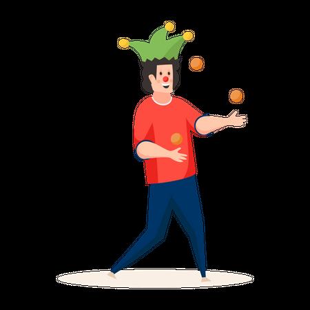 Joker Juggling Ball Illustration