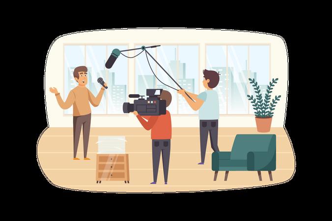 Journalist and film crew filming reportage indoors Illustration