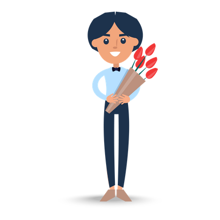 Joyful Man in T-Shirt with Bow-tie Holding Bouquet Illustration