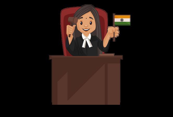 Judge holding Indian flag in her hand Illustration