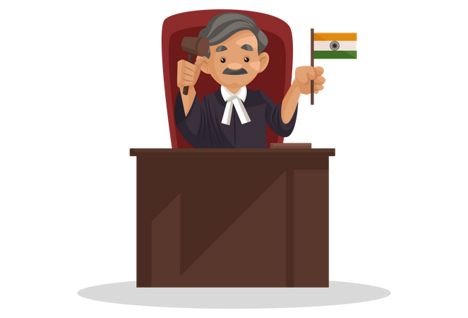 Judge holding Indian flag in his hand Illustration
