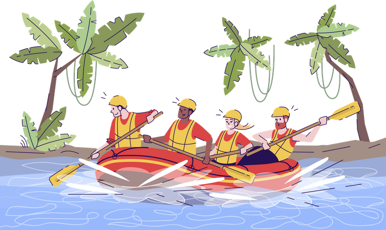 Jungle river rafting Illustration